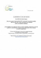 Annonce recrutement EHPAD accueil familles
