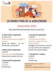 Médiathèque - Les rendez-vous de septembre