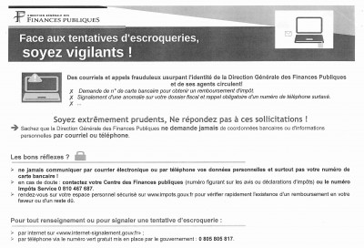 Face aux tentatives d'escroqueries, soyez vigilants